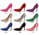 Women Suede Shoes Lady Heels Pointed Toe