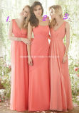 Coral Deep V Collar Backless Empire Chiffon Bridesmaid Dress Yao184
