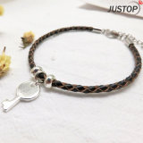 Leather Woven Silver Plating Brass Key Pendant Wrap Bracelet