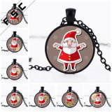 Festival Theme Christmas Santa Claus Pendant Cabochon Glass Necklace