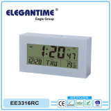 Radio Controlled Alarm Clock with Large Digital LCD Display of Time, Date, Temp and Humidity