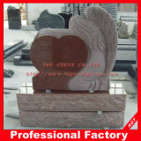 Top Carving Angel Sculpture Red Granite Memorials Headstone