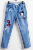 Womens Blue Denim Jeans Skinny Ripped Distressed Pants Wholesale