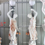 Marble Statue Lady Holing Lamp Sculpture