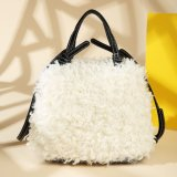 New Arrival Lady Bag Female Fashionable White Woolen Constucture PU Leather Lady Handbag