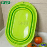 Oval Shaped Slip-Proof Silicone Foldable Colander Washing Basin