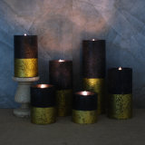 Christmas Decoration Gold LED Candle/ Pillar Wax LED Candle with Moving Flame