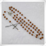 Religious Rosary with 6*7mm Hot Stamping Wooden Beads Item: Io-Cr187