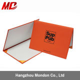 Orange Pinhole Grain Certificate Holder Imprinting Custom Design -Tent Style