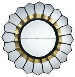Bold and Beautiful Designed Mirror Bordered by Gold Accent