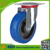 Blue Elastic Rubber Wheels Swivel Caster for Trolley