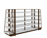 Supermarket Shelves of Double-Sided Shelves of Pharmacy Stationery Store on Display