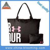 Black Polyester Carry Shoulder Recycle Shopping Tote Handbag Bag