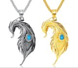 Hiphop Feather Pendant Necklace for Men Inlaid Blue Accessories Stainless Steel Male Personality Jewelry Gifts