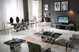 Modern Design Dining Table with Tempered Black Glass Top