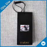 Hot Sale Black Paper Hangtag with Seal Tag for Clothing