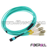 MPO/MTP-LC Multimode Om3 Fiber Optic Patch Cord 8 Fibers