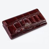 Hot Sale Genuine Cow Leather Lady Purse Crocodile Skin Clutch Wallet