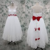 Real Customize Lace Appliqued Children Flower Girl Dress