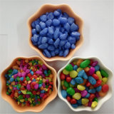 Multiple Color Dye Pea Shaped Gravels Yellow Colour Stone Dyed Pebbles