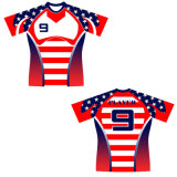 Compression Style Rugby Uniform Jersey Shirt with Player Number Printed