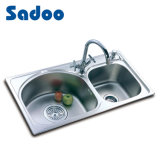 Contemporary Kitchen Sink with 2 Unequal Bowls, Double Sinks SD-924