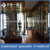 Customized Rose Gold Hairline Red Wine Cellar Cabinet Furniture