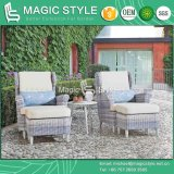 Outdoor Wicker Sofa with Cushion Garden Leisure Rattan Sofa Set Wicker Weaving Footstool Patio Sofa with Footstool