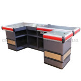 Supermarket Metal & Wooden Checkout Cash Counter Electric Checkout Counter with Motor and Conveyor Belt