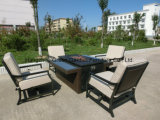 Patio Conversation Set Sofa with Rattan Fire Pit Table