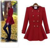 Winter Ladies Double Breasted Woolen Fitted Trench Coat