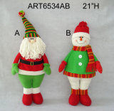 "21""H Standing Santa Snowman Christmas Decoration"