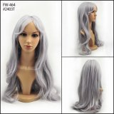 High Quality Long Hair Gray Color Fashion Nature Wave Synthetic Wigs