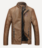 Men′s Slim Jacket Mens PU Leather Motorcycle Jacket Casual Jacket