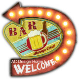 "Vintage Decoration Antique ""Welcome Ice Cold Beer on Top"" Design Metal Wall Decor W/LED Light"