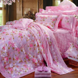 Custom Polyester Floral Printed Bed Sheet Fabric Bedding Set Textile
