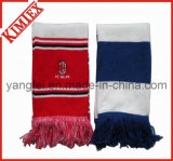 Acrylic Stripes Embroidery Logo Knitted Scarf