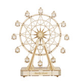 232PCS Rotatable DIY 3D Ferris Wheel Wooden Puzzle Game Assembly Music Box Toy Gift for Children Teens Adult