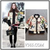 Vintage Flower Printed Women Lady Cotton Bomber Jacket