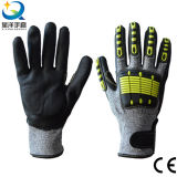 TPR Back Cut Resistance Nitrile Coated Sandy or Foam Finished Gloves TPR Anti-Cut Gloves