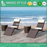 Rattan Sun Bed with Cushion Wicker Sunlounger with Pillow (Magic Style)