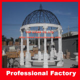 White Marble Stone Gazebo with Cast Iron Roof for Garden