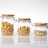 Wholesale Glass Containers Clear Airtight Seal Glass Food Storage Jar with Wooden Clip Lid