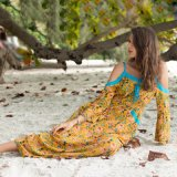 Wholesale New off-The-Shoulder Braces Long-Sleeved Printed Beach Casual Holiday Dress