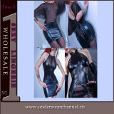 Sexy Sheer Black Woman Leather Clubwear Dress Lingerie (TGP852)