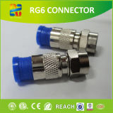 Frg6 F Type Compression Connector of Nickle-Plated Brass Material