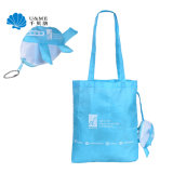 Air Plane Custom Shape 210t Foldable Tote Handbags Shopping Bag with Keychain