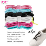 Morecredit Round Elastic No Tie Shoelaces Wholesale Lazy Shoe Laces with Metal Capsules