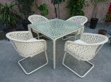 Outdoor White Rattan Dining Set Wicker Furniture