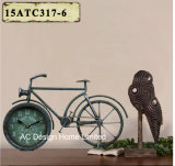 Vintage Decoration Antique Grey Bicycle Shape Metal Table Top Clock